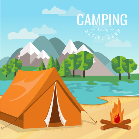 Vector flat illustration camping. Nature background with grass, forest, mountains and hills. Outdoor activities. Tent and fire camp Illustration
