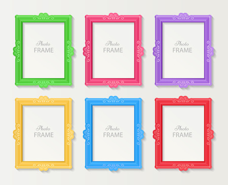 photo album: Realistic design photo frames on white background. Decorative template for baby, family or memories. Scrapbook concept, vector illustration. Birthday