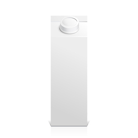 isolated object: Juice and milk blank white carton boxes  3d. Isolated object. Vector illustration. Mock-up packages