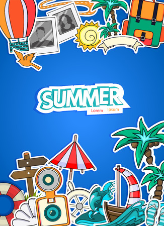 tourism: Cartoon style.  Business summer tourism concept. Voyage, journey and travel. Vacation vector illustration.