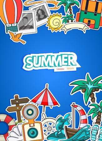 turismo: estilo de dibujos animados. verano concepto de negocio de turismo. Viaje, el viaje y los viajes. ilustración vectorial de vacaciones.