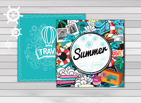 wave tourist: Cartoon style.  Business summer tourism concept. Voyage, journey and travel. Vacation vector illustration.