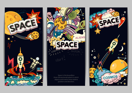 classification: Cartoon vector illustration of space. Moon, planet, rocket, earth, cosmonaut, comet, universe. Classification, milky way. Hand drawn. Abstract