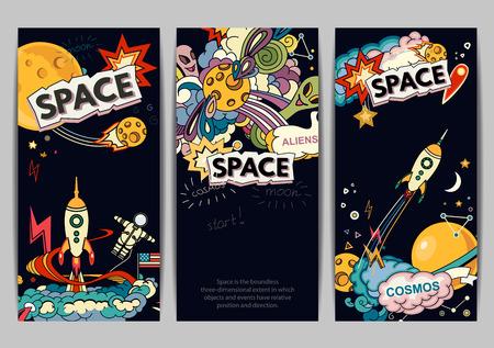 cartoon astronaut: Cartoon vector illustration of space. Moon, planet, rocket, earth, cosmonaut, comet, universe. Classification, milky way. Hand drawn. Abstract