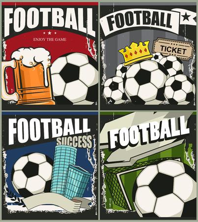 bannière football: banner Retro. Ballon de football. Des sports. Football vector template design