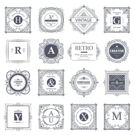 Modello di lusso del monogramma con elementi calligrafici dell'ornamento di flourishes. Design elegante per bar, ristorante, araldico, gioielli, moda