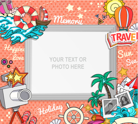 scrapbook frame: Vector template photo frame or card for your picture. Insert your picture or text. Scrapbook concept. Design photo frame. Decorative template for baby, family or memories. Vector illustration. Illustration