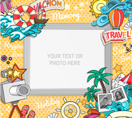 wave backdrop: Vector template photo frame or card for your picture. Insert your picture or text. Scrapbook concept. Design photo frame. Decorative template for baby, family or memories. Vector illustration. Illustration