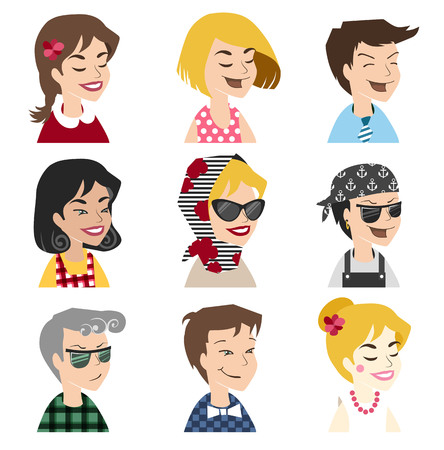 face profile: People vector icons. Avatar in retro style. Face located in user profile. Illustration