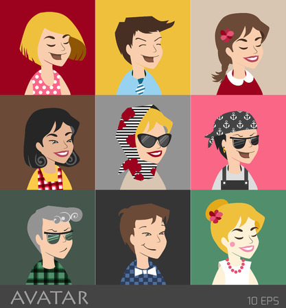grimaces: Character and grimaces. People vector icons. Face located in user profile. User
