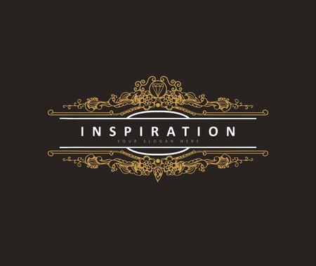 Monogram classic template with elegant ornament elements. Luxury elegant design for cafe, restaurant, boutique, hotel, shop, jewelry. retro elements