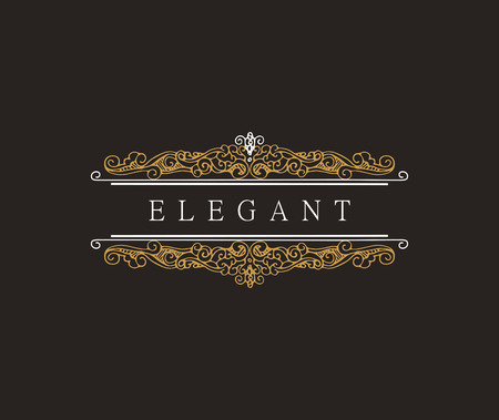 boutique hotel: Monogram classic template with elegant ornament elements. Luxury elegant design for cafe, restaurant, boutique, hotel, shop, jewelry. retro elements