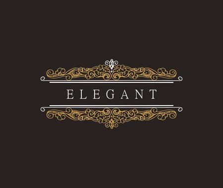 Monograma plantilla clásica con elegantes elementos de ornamentación. diseño elegante de lujo para el café, restaurante, tienda, hotel, tienda, joyería. elementos retro