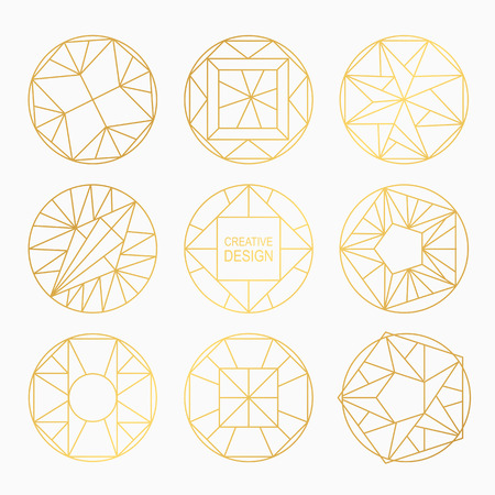 Set of hipster geometric shapes. Circular abstract. Shapes made using line, triangles, circles, and other polygons. You can use it for design icons, masks and overlaying on photos. Illustration