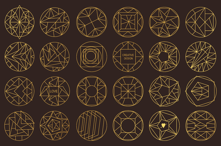 overlaying: Set of hipster geometric shapes. Circular abstract. Shapes made using line, triangles, circles, and other polygons. You can use it for design icons, masks and overlaying on photos. Illustration