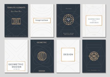 Monogram creative cards template with geometric elements. Elegant design for cafe, restaurant, heraldic, jewelry, fashion. Stock Illustratie