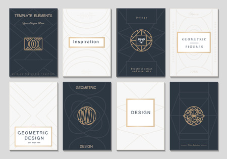 Monogram creative cards template with geometric elements. Elegant design for cafe, restaurant, heraldic, jewelry, fashion. Vectores
