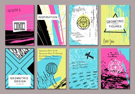 Conjunto de tarjetas de felicitación creativas plantilla con elementos. Fondo de estilo moderno. brillante diseño elegante para carteles, cumpleaños, fiesta, café, boda.