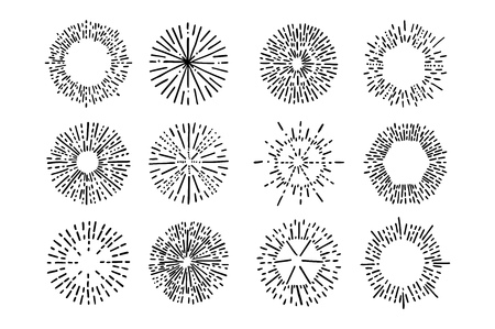ray light: Set of vintage sunburst. Hand drawn. Light ray. Design template  for icons or graphic elements.