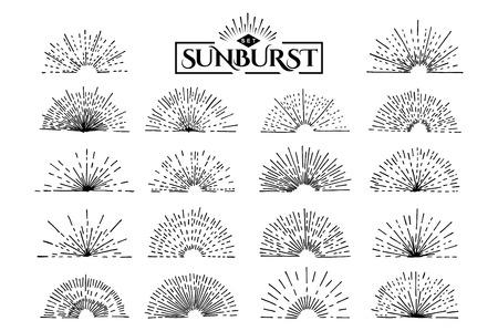 Ensemble de vintage sunburst. Dessiné à la main. Rayon de lumière. Modèle de conception pour les icônes ou éléments graphiques.