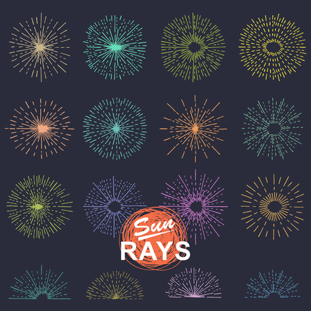 light ray: Set of vintage sunburst. Hand drawn. Light ray. Design template  for icons, logos or graphic elements.