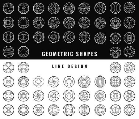 illusions: Set of hipster vector geometric shapes. Circular abstract. Shapes made using line, triangles, circles, and other polygons. You can use it for design icons, logos masks and overlaying on photos.