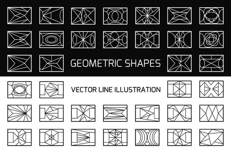 overlaying: Set of hipster vector geometric shapes. Rectangle abstract. Shapes made using line, triangles, rectangle, and other polygons. You can use it for design icons, logos masks and overlaying on photos. Illustration