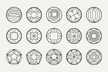 overlaying: Set of hipster vector geometric shapes. Circular abstract. Shapes made using line, triangles, circles, and other polygons. You can use it for design icons, logos masks and overlaying on photos.