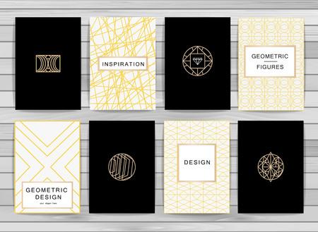 jewellery: Monogram creative cards template with geometric elements. Elegant design for cafe, restaurant, heraldic, jewelry, fashion. Illustration