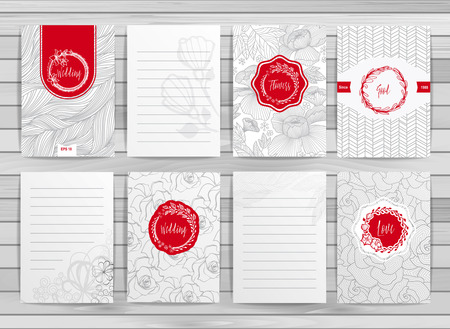 Flowers creative cards template. Elegant design for cafe, restaurant, heraldic, jewelry, fashion.