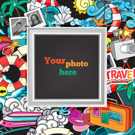 picture card: Vector template photo frame or card for your picture. Insert your picture or text. Scrapbook concept. Design photo frame. Decorative template for baby, family or memories. Vector illustration. Illustration