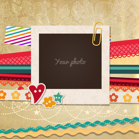 scrapbook frame: Collage photo frame on vintage background. Album template for kids, family or memories. Scrapbook concept, vector illustration.