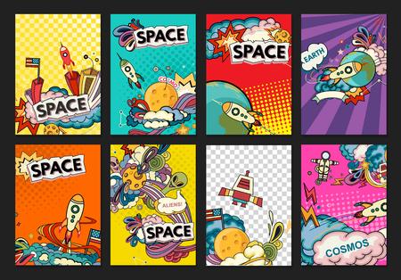 Cartoon vector illustration of space. Moon, planet, rocket, earth, cosmonaut, comet, universe. Classification, milky way. Hand drawn. Comics cosmos.