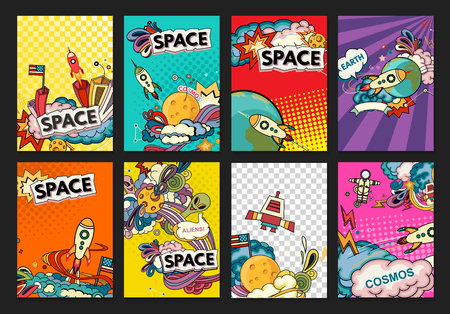 Cartoon vector illustration of space. Moon, planet, rocket, earth, cosmonaut, comet, universe. Classification, milky way. Hand drawn. Comics cosmos. Imagens - 56919700