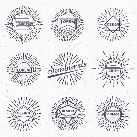 light ray: Set of vintage sunburst. Hand drawn. Light ray. Design template for icons or graphic elements.