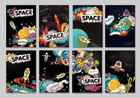 Cartoon vector illustration of space. Moon planet rocket earth cosmonaut comet universe. Classification milky way. Hand drawn. Comics cosmos.