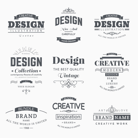 crown logo: Retro Creative Vintage labels template and Logo set. Vector design elements business signs, branding, badges, objects, identity, labels. Illustration