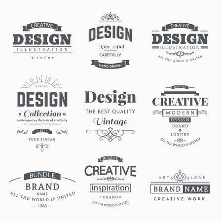 Vintage retro creativo etiquetas de plantilla y logotipo conjunto. Vector signos elementos de diseño de negocio, marcado en caliente, chapas, objetos, de identidad, etiquetas.