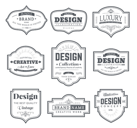 Del marco del modelo clásico. contorno de la vendimia cuadros en blanco y etiquetas. Diseño de los elementos de la vendimia para el café, restaurante, tienda, hotel, tienda, joyería. Elementos del vector retro