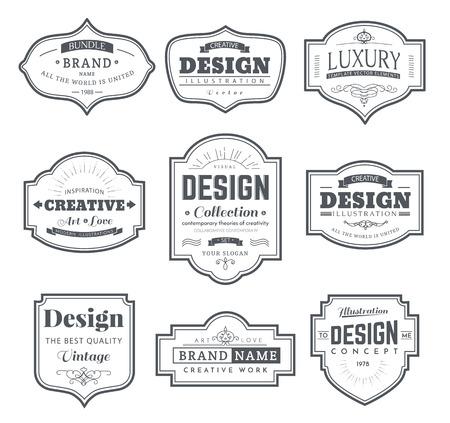 Frame klassieke sjabloon. Vintage contour lege frames en labels. Vintage elementen ontwerp voor cafe, restaurant, boutique, hotel, winkel, juwelen. Vector retro-elementen Stock Illustratie