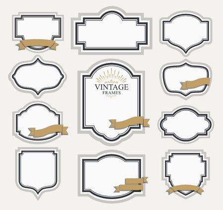Cadre modèle classique. contour Vintage frames et étiquettes vierges. Vintage design éléments pour café, restaurant, boutique, hôtel, magasin, bijoux. Vecteur rétro éléments Vecteurs
