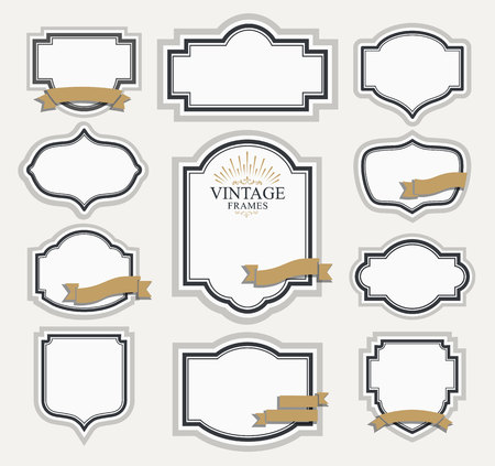 boarder: Frame classic template. Vintage contour blank frames and labels. Vintage elements design for cafe, restaurant, boutique, hotel, shop, jewelry. Vector retro elements