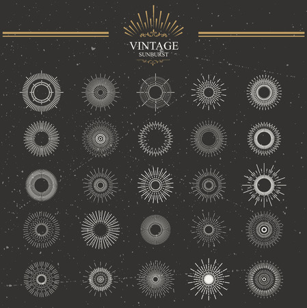 ray of light: Set of vintage sunburst. Hand drawn. Light ray. Design template for icons, logos or graphic elements.