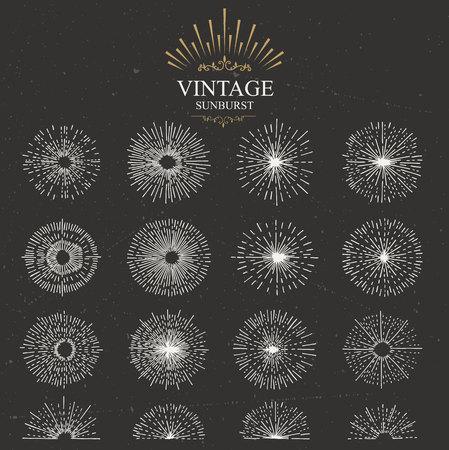 gráfico: Jogo do sunburst vintage. Desenhado à mão. Raio de luz. Molde do projeto para ícones, logos ou elementos gráficos.