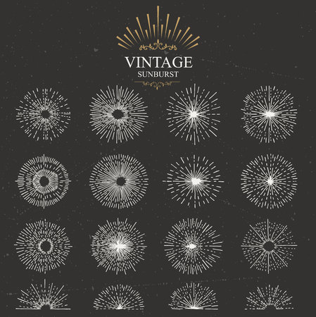graphic elements: Set of vintage sunburst. Hand drawn. Light ray. Design template for icons, logos or graphic elements.
