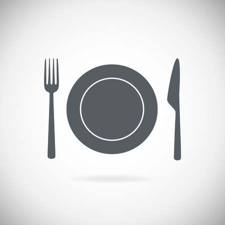 cutleries: Set cutlery icon vector illustration. Black silhouette of fork, knife, spoon and plate. Table appointments. Menu