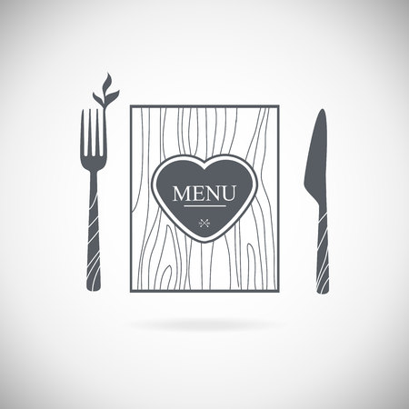 knife fork: Set cutlery icon vector illustration. Black silhouette of fork, knife, spoon and plate. Table appointments. Menu