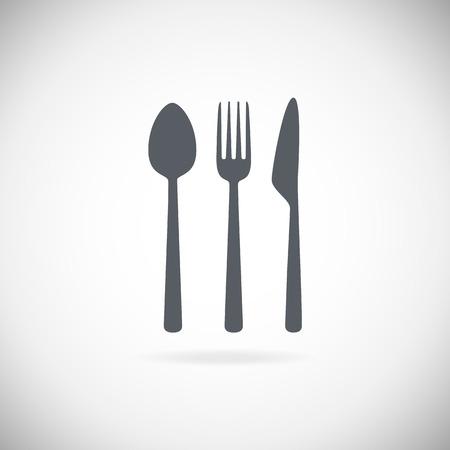 Ustaw sztućce ilustracji wektorowych ikon. Czarna sylwetka widelec, nóż, łyżka i płytki. Terminy tabeli. Menu