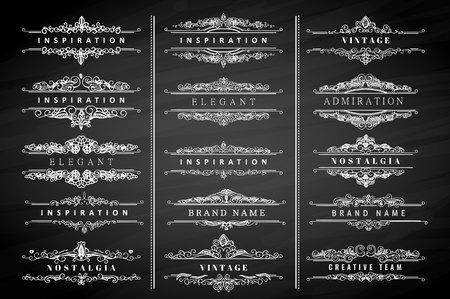 Colección de la vendimia florece adornos caligráficos y marcos. estilo retro de los elementos de diseño, decoraciones para la postal, banners, logotipos. modelo del vector