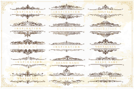 retro postcard: Collection of vintage flourishes calligraphic ornaments and frames. Retro style of design elements, decorations for postcard, banners, logos. Vector template
